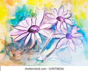 Abstract chamomile flower painting background. Artwork.