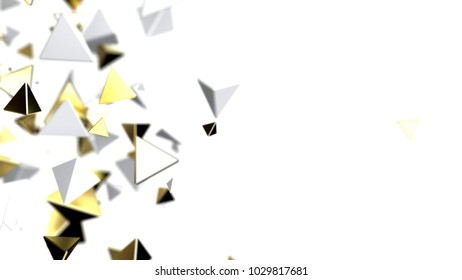 Abstract chaotic structure particles, 3d illustration