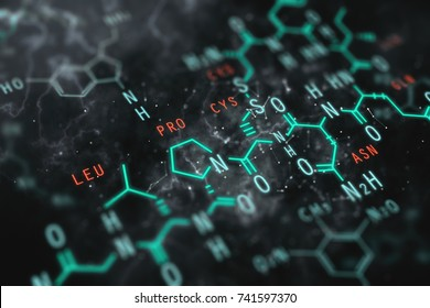 Abstract chemical formula background. Education concept. 3D Rendering