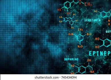 Abstract chemical gridl formula backdrop. Science and education concept. 3D Rendering