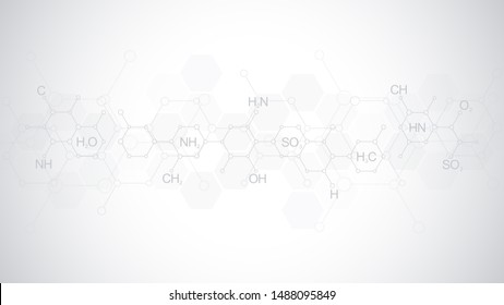 Abstract chemistry pattern on soft gray background with chemical formulas and molecular structures. Template design with concept and idea for science and innovation technology