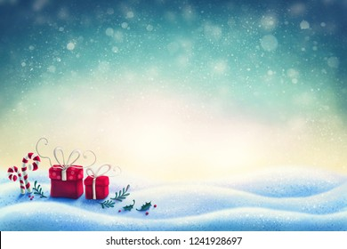Abstract christmas background with gift boxes