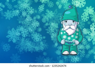 Abstract christmas background with snowflakes and Santa Claus.