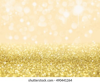 Abstract of Christmas and bokeh light with golden glitter background