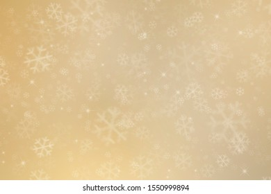 abstract christmas golden background with snowflakes, stars