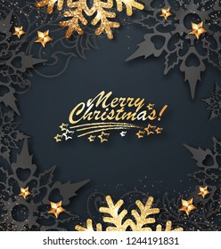 Abstract Christmas greeting card with golden snowflakes