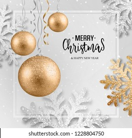 Abstract Christmas greeting card with silver snowflakes and event balls