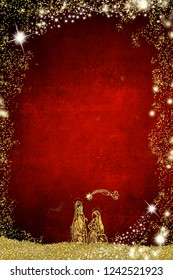 Abstract  Christmas Nativity Scene, Holy Family greetings cards. Abstract freehand drawing of  Holy Family with golden glitter on red  paper background with copy space for message, vertical image.