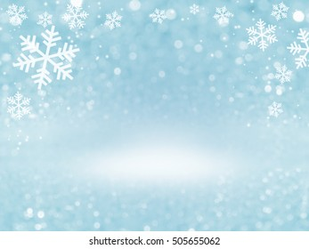 Abstract of christmas with snowflake and bokeh light background