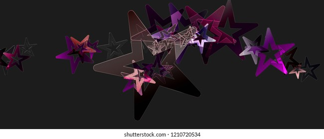 Abstract christmas star glass 3D panorama design illustration