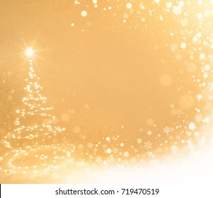 Abstract Christmas tree illustrated with light strings on a gold colored background - 3D illustration