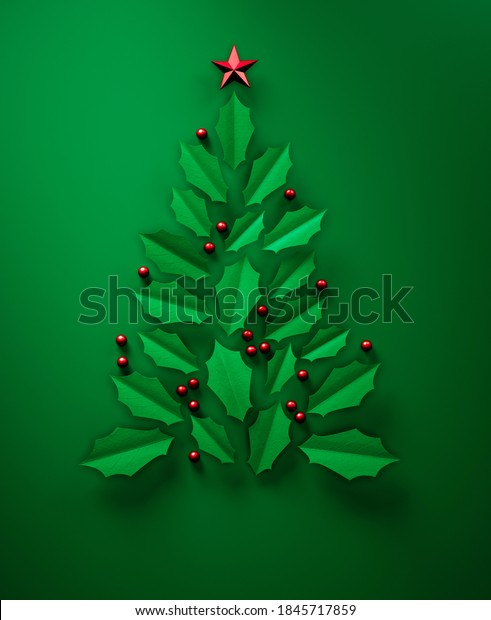 Abstract christmas tree made of green leaves - greeting card background - 3D illustration