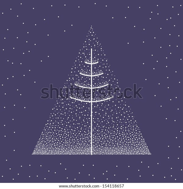 Abstract christmas tree on blue background, raster version of vector