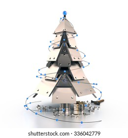 Abstract Christmas Tree on dark background, 3D rendering image