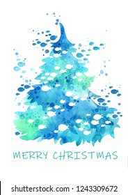 Abstract Christmas tree with school of fish watercolor hand painting on white background for use on Christmas holiday in summer.