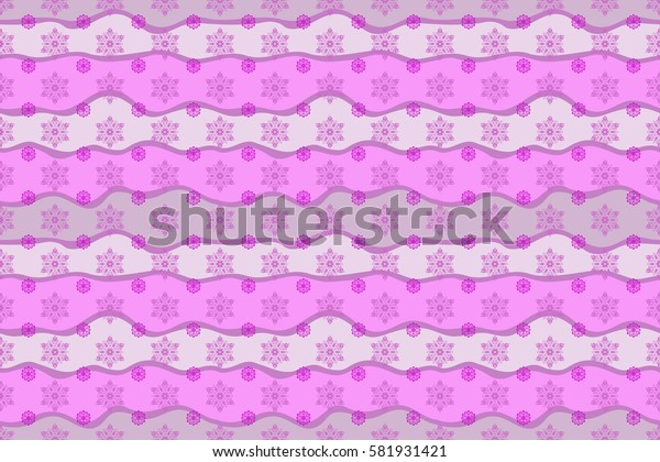 Abstract Christmass illustration with violet and magenta snowflakes on wave background. Raster Christmas party design template.