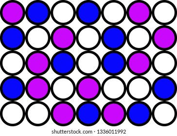 Abstract circle pattern grid with blue and purple colours - illustration