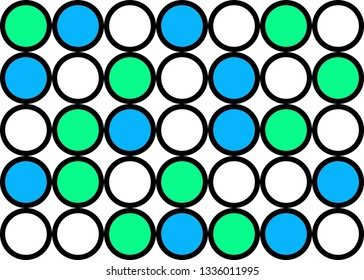 Abstract circle pattern grid with blue and green colours - illustration