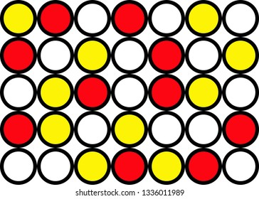 Abstract circle pattern grid with red and yellow colours - illustration