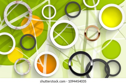 Abstract circles on white and green background. Stereoscopic photo Wallpapers. 3D rendering.