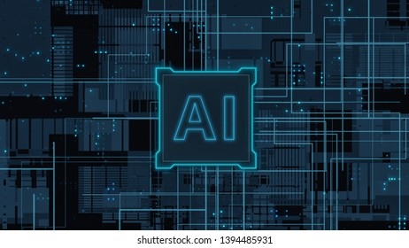 abstract circuit board with a central processing unit, data flow and text AI (3d render)
