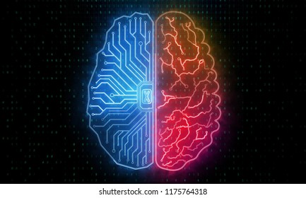 Abstract circuit brain background. Artificial intelligence and future concept. 3D Rendering