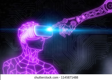 Abstract circuit cyborg robot with virtual reality glasses and pointing hand Technology, future and experience concept. 3D Rendering