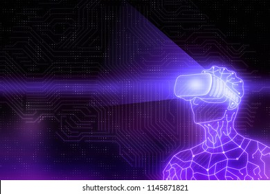 Abstract circuit cyborg robot with virtual reality glasses. Technology, future and headset concept. 3D Rendering