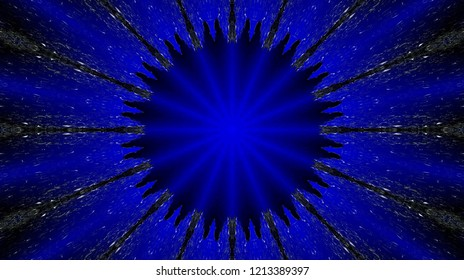 Abstract circular colored pattern with spread specks around. Circular ornament with flowed specks around in blue, black and other shades.