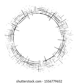 Abstract circular element.Set of isolated circular crisscrosses.Assymetric radial elements.Linear drawing.Illustration pattern.Monochrome background. Geometric element.