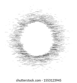 Abstract circular element.Set of isolated lines. Assymetric radial elements.Linear drawing.Illustration pattern.Monochrome background. Geometric element.