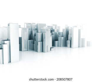 Abstract city 3d cubes
