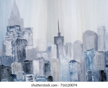 Abstract city of acrylic painting on canvas. Creative abstract hand painted background, texture, wallpaper. Fragment of artwork. Modern art. Contemporary art.