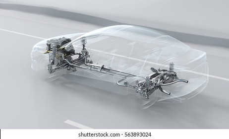 Abstract city car structure overview during drive. Opacity design 3d illustration