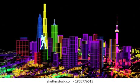 Abstract City Grid. Aerial view of a Dystopian Shanghai city in the future with projection mapping on buildings with cyberpunk. Retro futuristic. 3d render