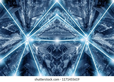 Abstract city scifi light shadow art background in blue tone flare shine beautiful texture.