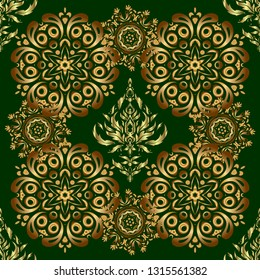 Abstract classic seamless pattern with golden elements on a green background. Vintage floral ornament.