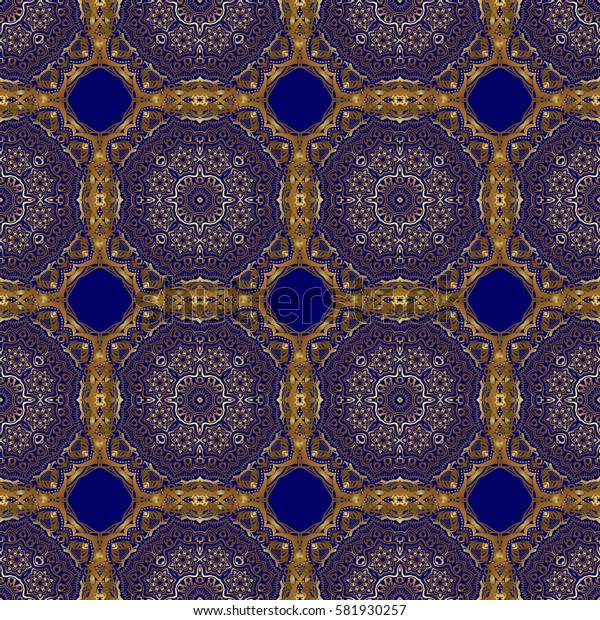 Abstract classic seamless pattern with golden elements on a blue background. Vintage floral ornament.