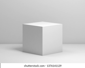 Abstract classical still life installation with white cube. 3d render illustration