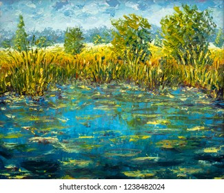 Abstract claude monet pond oil painting impressionism river water modern painting