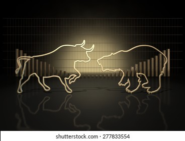 An abstract closeup of two gold outlines depicting a stylized bull and a bear representing financial market trends on a bar graph background