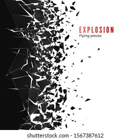 Abstract cloud of pieces and fragments after wall explosion. Shatter and destruction effect. illustration