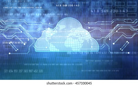 Abstract cloud technology in the future background, 3D