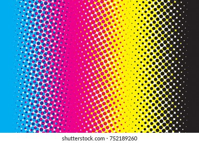 Abstract CMYK color mode structure background with dots.