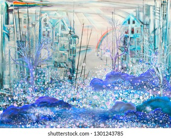 Abstract cold town with rainbow. Surreal oil painting artwork.
