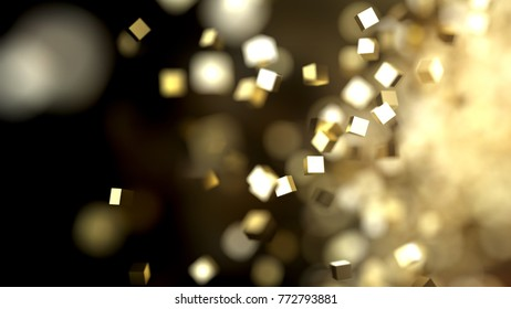 Abstract colden cubes particles, 3d illustration
