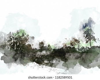 Abstract coloful field landscape on watercolor painting background