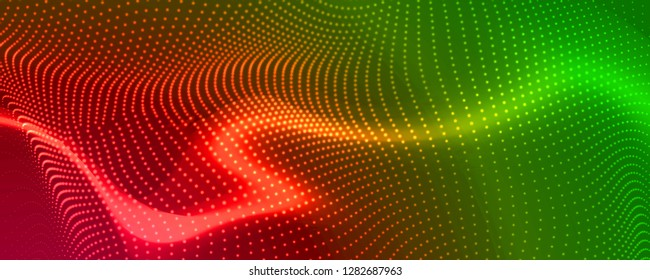 abstract coloful particles banner design red green