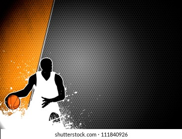Abstract color basketball man and ball poster background withs space