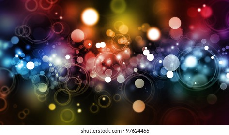 Abstract color blurs on dark background